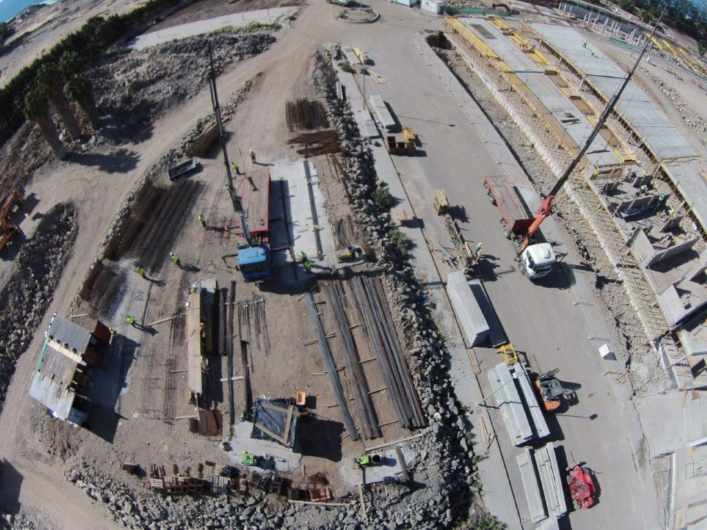 Aerial view of crane's work