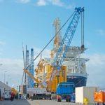 Unloading works for Big Lift boat